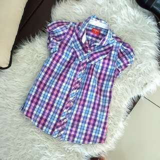 Checkered button top
