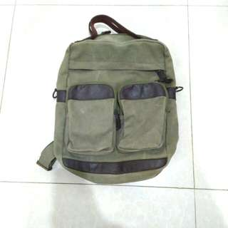 Bagpack army leather
