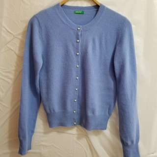 "United Colors of Benetton Light Blue Wool Cardigan, Size: S, 80% Wool, 20% Angora, Bust: 33""to 35"""