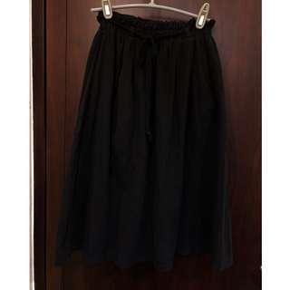 棉麻鬆緊長裙 黑色