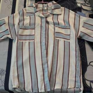 條紋雪紡襯衫