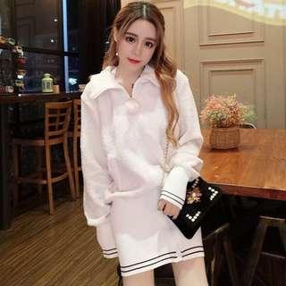 🚚 韓版毛絨絨毛球拼接針織包臀短裙長版上衣連身裙洋裝