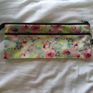typo long floral pencil case
