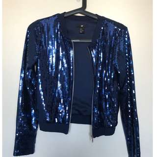 WORN ONCE! H&M Blue Sequin Sparkly Jacket!