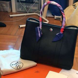 Hermes Garden Party 30 Black Epsom stamp x