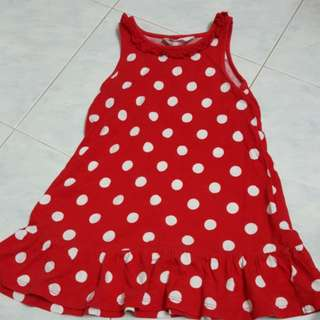 H&M polka dotted red Dress 2-4yo