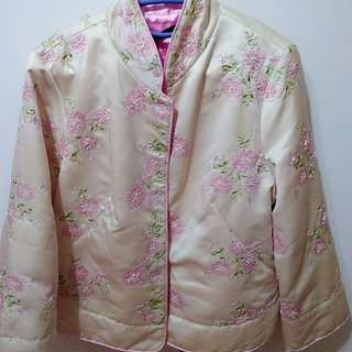 🚚 粉色中國風手工棉襖