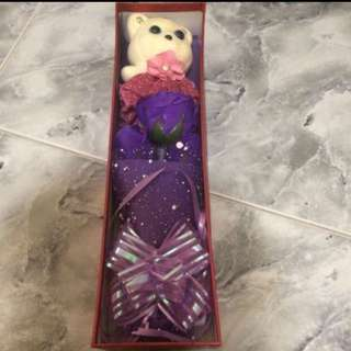 3 Soap Flowers and A Bear