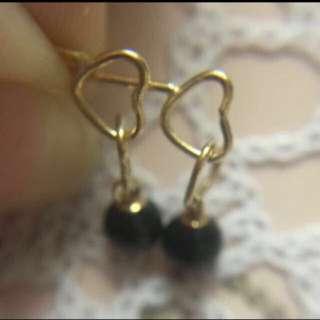 全新日本製 純18K金 天然珠心形迷你耳釘    Made In Japan  100% New & Real 18K Yellow Gold  With Natural Stone Mini Size Stud Earring