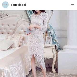 white lace dress deuce label size S