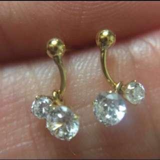 日本製 全新純18K金 鋯石迷你耳釘  Made In Japan 100% Real & new 18K Yellow Gold Mini Size Stud Earring