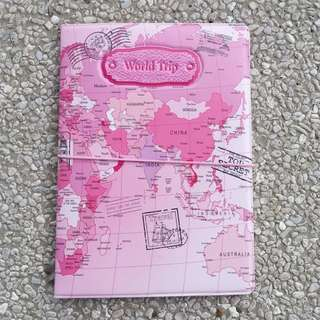 Passport Holder - World Map (pink)