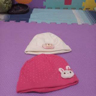 Pink and white bonnet