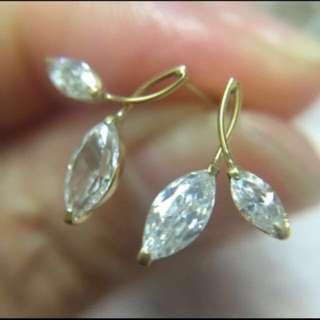 全新日本製 純18K金 7mm欖形鋯石 迷你耳釘  Made In Japan 100% New & Real 18K Yellow Gold Mini Size Stud Earring