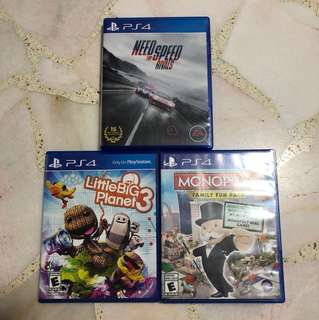 PS4 Games: Little Big Planet 3 / Need For Speed Rivals / Monopoly: Family Fun Pack