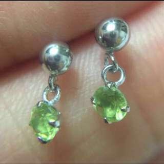 日本制 14K白金 3mm天然橄欖石鋯石 迷你耳釘   Made In Japan  100% Real 14K White Gold Mini Stud Earring