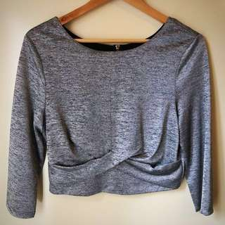 Metallic silver long sleeve, half top - Forever New