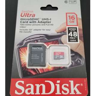 SanDisk Ultra 16GB Ultra Micro SDHC UHS-I/Class 10 Card with Adapter