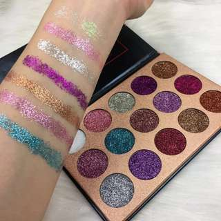 Beauty Glazed 15 Color Glitterinjections Pressed Glitters Eyeshadow Diamond Rainbow Pallete Makeup Eye Shadow Palette Cosmetics