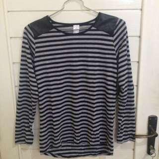 Stripe patch lengan panjang long shirt