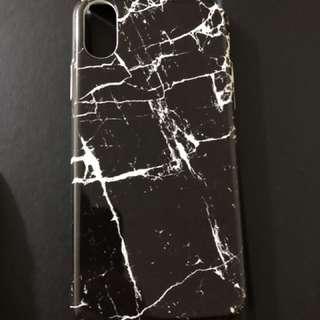 iPhone X 黑色 雲石紋 保護殼