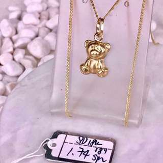 Teddy bear gold necklace 18k