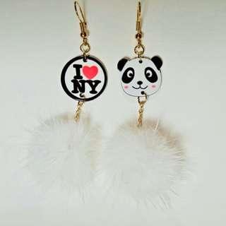 (全新)熊貓毛球耳環