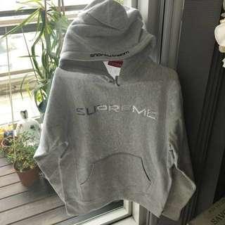 Supreme unisex Light Grey Hoodie size: M
