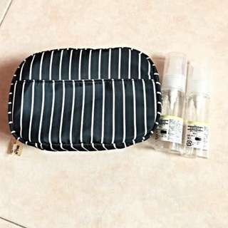 BN MUJI travel pouch and bottles