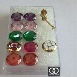 18k Gold Earring Studs - 5in1 - 5 colours Stone
