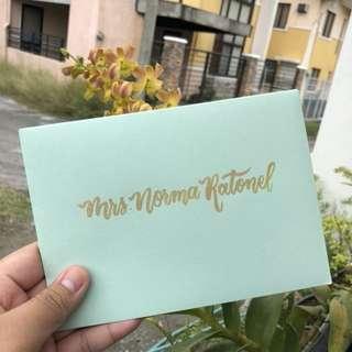 Handlettered Calligraphy Envelopes for wedding Birthday Invitation