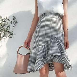 現貨S號*1‼️不規則下擺格紋簡約拉鍊魚尾裙