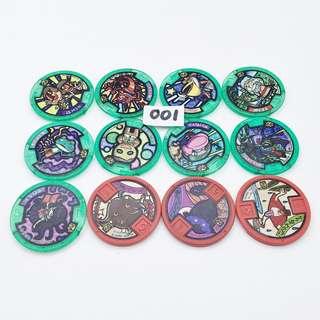 (中古) 購自日本 原裝正品 BANDAI Yokai Watch Badge 妖怪手錶 妖怪徽章 零式金幣 共12個