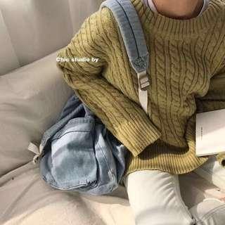 現貨‼️很厚實保暖!抹茶牛奶麻花針織毛衣