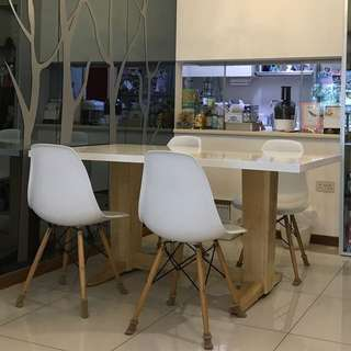Scandinavian Dining table and four chairs set