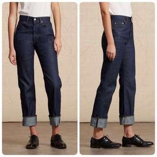 降價!二手9新Levi's LVC 1950's 701 經典高腰牛仔褲 W24