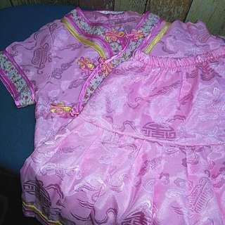 Kids Cheongsam Top with Skirt