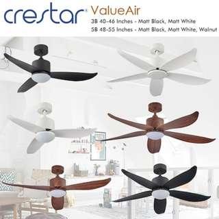LOCAL CRESTAR DC MOTOR SALES! Dc fan . Dc ceiling fan.  CRESTAR CEILING FAN WITH LED  CRESTAR VALUEAIR