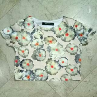 Floral Pastel Crop Top Blouse / Shirt Semi Silk-Cotton Fabric (NO FLAWS, 2nd pic is only MIRROR stain) Size: fits Small to Medium