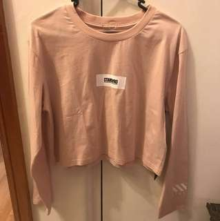 'STANDARD' Cropped Tee - Size M - Salmon Pink colour
