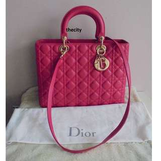 AUTHENTIC DIOR LARGE LADY DIOR TOTE IN PINK - LIKE NEW !