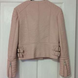 Zara pink leather jacket
