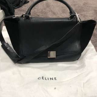Celine trapeze small bag in black suede/leather