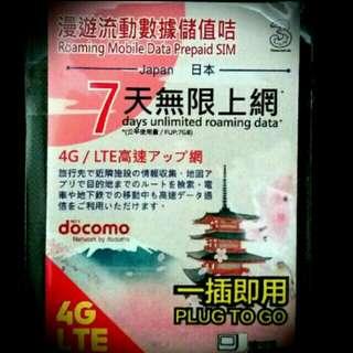 Docomo 7日4G無限上網卡