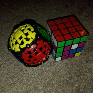 Gear ball and 4x4x4 Rubik's Cube Brain Challenge