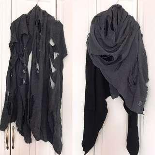 🇯🇵 中性破爛有型麻布頸巾unisex stylish linen grey scarf