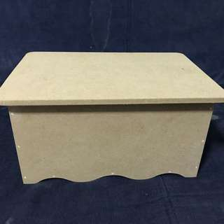 Plain wooden box with flap open