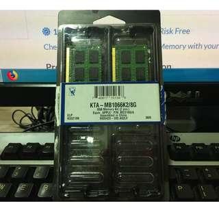 Kingston 8GB Kit Apple Mac DDR3 1066MHz Ram $300
