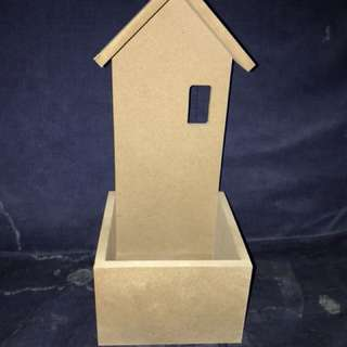 Plain wooden box with roof top