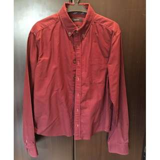 Maroon Button-down with Dark Buttons - Mens S